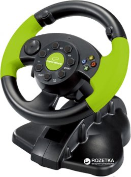 Дротове кермо Esperanza USB PC/PS3/Xbox 360 Black/Green (EG104)