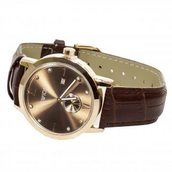 Часы SWIDU SWI-018 Brown + Gold с двумя циферблатами корпус из нержавеющей стали мужские наручные