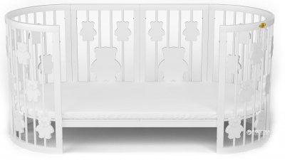 Кроватка трансформер IngVart 9-в-1 с мишками Белая (1369003)