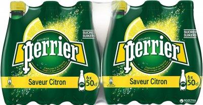 Упаковка минеральной газированной воды с лимоном Perrier 0.5 л х 24 бутылки (7613035696174)