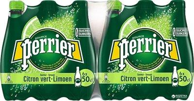 Упаковка минеральной газированной воды с лаймом Perrier 0.5 л х 24 бутылки (3179732390738)