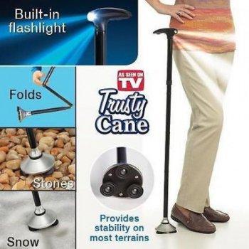 Трость телескопическая с подсветкой Trusty Cane Палочка складная для ходьбы