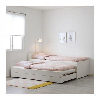 Двухъярусная кровать IKEA SLÄKT 90x200см белая 892.277.31