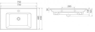 Раковина CERASTYLE Arte 75 см (SC0000638)