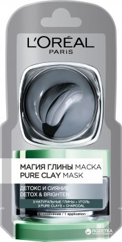 Маска L'Oréal Paris Skin Expert Магия Глины Детокс и сияние для всех типов кожи с углем 6 мл (3600523525898)