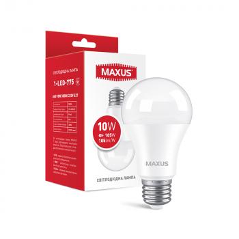 Лампа світлодіодна Maxus E27 10W 3000K A60 1050 Лм 220V (1-LED-775)