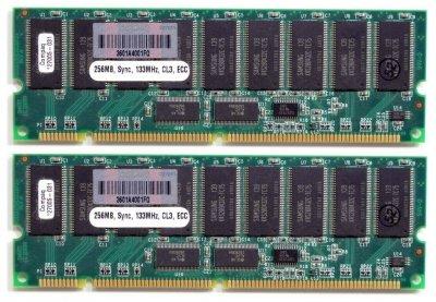 Оперативна пам'ять Compaq SD-RAM 512MB Kit 2x256MB/PC133R/ECC/CL3 (159304-001) Нове
