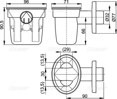 Воронка с сифоном для сбора конденсата ALCA PLAST с шариком (8595580531690)
