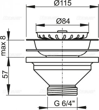 """Донный клапан для мойки ALCA PLAST 6/4"""" с нержавеющей решеткой DN115 (8594045936285)"""