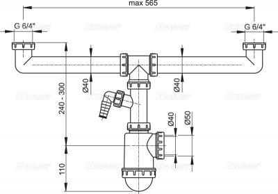 """Сифон для сдвоенной мойки ALCA PLAST A448P-DN50/40 с накидными гайками 6/4"""" (8594045937848)"""