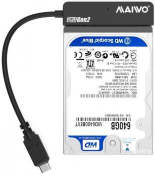 """Адаптер Maiwo для підключення HDD/SSD 2.5"""" SATA до USB3.1 Type-C Gen2 + контейнер захисний для HDD 2.5"""" (K104G2 black)"""