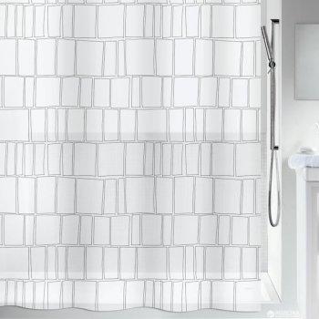 Шторка для ванної Spirella Construct 180x200 PEVA Чорно-біла (10.20149)