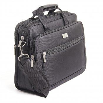 Сумка для ноутбука BAOHUA горизонтальна 41х30х16 чорна, тканина Карбон «Plain» кс6915