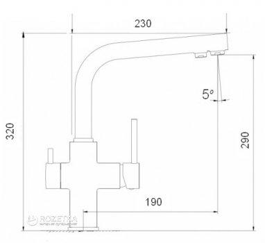 Кухонний змішувач з підключенням до фільтру GLOBUS LUX GLLR-0888 Chrom