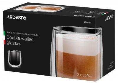 Набір чашок Ardesto з подвійними стінками для лате 360 мл 2 шт (AR2636G)