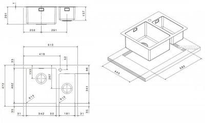 Кухонна мийка APELL Linear Plus 615x472 LNP3418FBC полiрована
