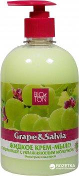 Жидкое глицериновое крем-мыло Bioton Cosmetics Виноград и Шалфей с увлажняющим молочком 500 мл (4820026144412)
