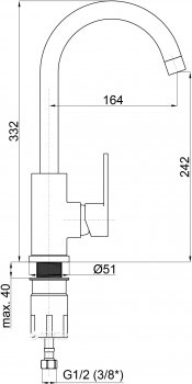 Кухонний змішувач RUBINETA Axe-33 BG (AX30088)