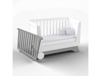 Кроватка-трансформер для новорожденного Indigo Wood Nova Kit белая/серый (34319)