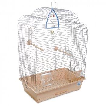 Клетка для птиц Природа Воля 45 x 65 x 28 см Хром/бежевая (4823082414857)