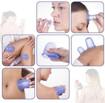 Вакуумные силиконовые банки для массажа лица и тела 4 шт Голубой (SKU_777111837512-mg)
