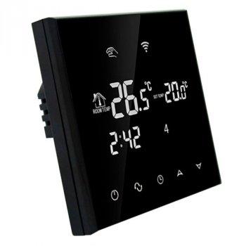 Програмований Терморегулятор сенсорний EcoTerm SN WI-FI Black з датчиком температури підлоги