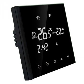 Програмований Терморегулятор сенсорний EcoTerm SN WI-FI Black для теплої підлоги