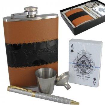 Набор Hip Flask Фляга 9oz+стаканчик+лейка+ручка+карты Коричневый 17122