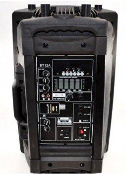 """Акустическая система аккумуляторная колонка 12"""" 1 радио микрофон USB FM Skyrrocky BT12A"""