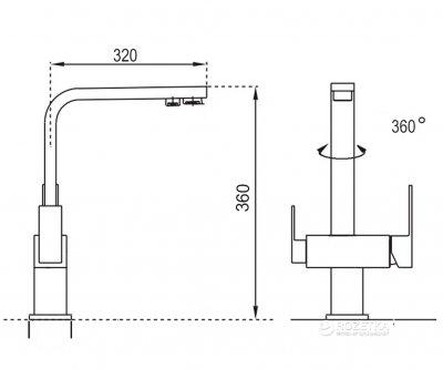 Кухонний змішувач з підключенням до фільтру GLOBUS LUX GLLR-0111-8-StSTEEL