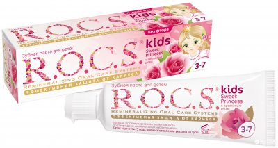 Зубная паста R.O.C.S. Kids Sweet Princess с ароматом розы (без фтора) 45 г (4607034473037)