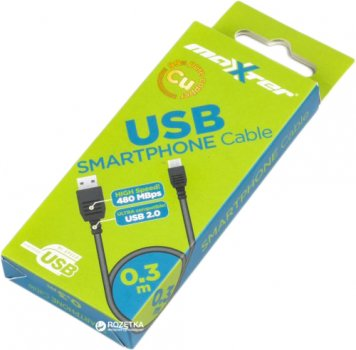 Кабель Maxxter USB 2.0 AM - microUSB B 0.3 м (UB-AMM-0.3M)