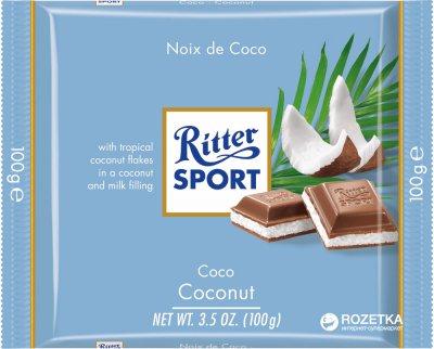 Молочный шоколад Ritter Sport с начинкой кокосово-молочный крем 100 г (4000417298003)