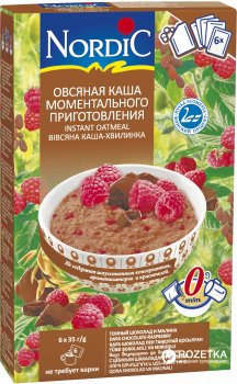 Вівсяна каша миттєвого приготування NordiC з чорним шоколадом і малиною 6 x 35 г (6411200210313)