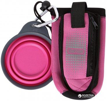 Сумка зі складною мискою для води і аксесуарів для собак Dexas BottlePocket with Travel Cup Рожева (dx30809)