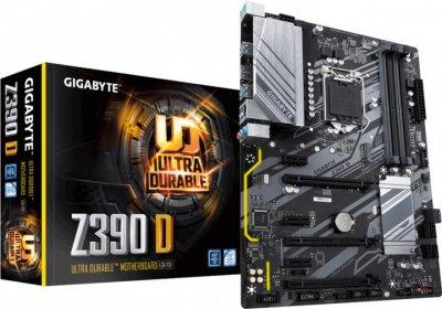 Мат. плата MB GigaByte Z390 D (iZ390/s1151/4xDDR4 4000(OC)Мгц/3xPCIe x16/3xPCIe x1/1x M. 2 port/6xSATA3/Raid 0,1,5,10/Glan/6xUSB3.1/HDMI/Audio 7.1 ch/ATX)