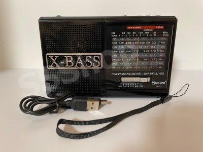 Акумуляторний радіоприймач FM радіо Golon RX-327 Black з ліхтариком (приймає флешки)