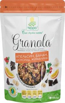 Гранола Терра з апельсиновими цукатами, банановими чипсами та темним шоколадом 250 г (4820015735140)