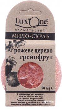"""Мыло-скраб глицериновое Ароматика с люффой и натуральными эфирными маслами Lux One """"Розовое дерево-Грейпфрут"""" 90 г (4823027302164)"""
