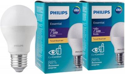 Светодиодная лампа Philips ESS LEDBulb 7W E27 3000K A60 2 шт (929001899487S)