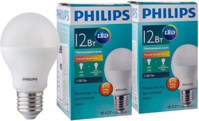 Светодиодная лампа Philips ESS LEDBulb 12W E27 3000K A60 2 шт (929001379687S)