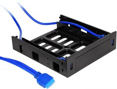 """Кошик з портами Crown Micro USB 3.0 для зовнішнього відсіку 5.25"""" корпусу ПК (CMU3-B5)"""