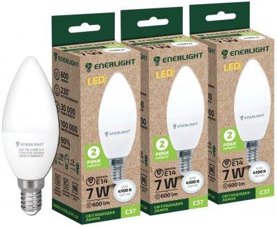 Світлодіодна лампа Enerlight С37 7 W 4100 K E14 3 шт. (C37E147SMDNFRS)