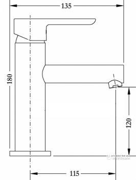 Монокран для раковини GLOBUS LUX SUS-002M нержавіюча сталь