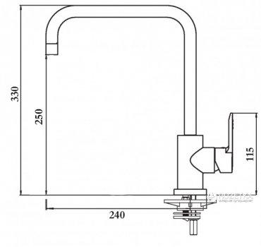 Змішувач кухонний GLOBUS LUX SUS-203L неіржавка сталь