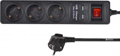 Сетевой фильтр 2E 3 розетки/2 USB 1.8 м Black (2E-U03ESUM1.8)