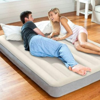 Кровать-матрас полуторная надувная с велюровым покрытием Intex 64102 Grey
