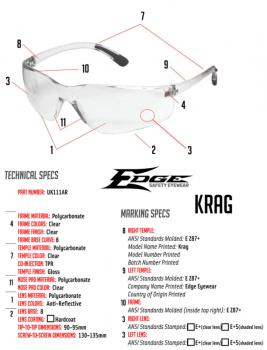 Баллистические очки Edge KRAG Ballistic Anti-Fog Safety Glasses