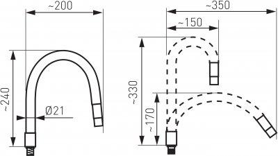 Гибкий излив для кухонного смесителя FERRO Elastico W100W-B