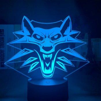 Настільний світильник-нічник Відьмак 3D MOON LAMP Witcher 16 Кольорів Школа Вовка (7295)